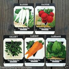 Vintage Original 5 VEGETABLE SEED PACKS CARD SEED CO (SET B) 1920's nos unused