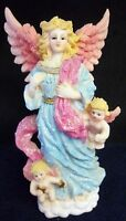 """BEAUTIFUL ANGEL WITH CHERUBS 10 """" X 6"""" EXCELLENT CONDITION"""