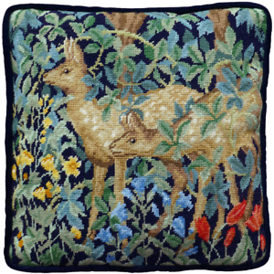 Bothy Threads Greenery Deer Tapestry Cushion Front Kit by William Morris