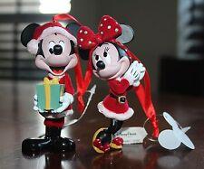 New! Disney Santa Mickey w/ Present & Minnie Mouse Holiday Figurine Ornament Lot