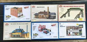6 HO Model Power IHC building kits, Brewery, Pickles, Auto Dealers Store Bridge
