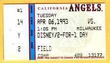 1993 CAL ANGELS OPENING DAY TICKET STUB-4/6/93-J.T. SNOW CAREER HR #1...HIT #3