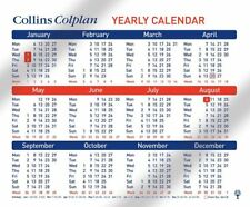 COLLINS COLPLAN A4 YEARLY 12 MONTH OFFICE COUNTER DESKTOP HANGING CALENDAR