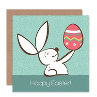 Happy Easter Rabbit Egg Blank Greeting Card With Envelope