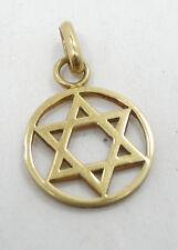Gorgeous Religious 14K Yellow Gold Star Of David Round Pendant A521