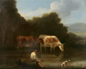 English School Antique Signed Oil Painting Cattle Watering, Thomas McLean Label