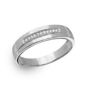 Men's Sterling Silver Single Bar Cubic Zirconia Stones Wedding Band Ring
