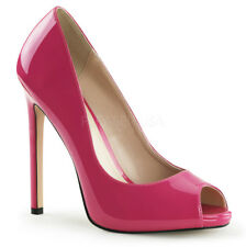 Pleaser -42 Ladies High Heel Stiletto PEEP Toe Court Shoes Hot Pink Patent UK 10 / EU 43 / US 13