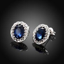 Women's Blue Sapphire Ear Hoop Stud Earrings White Gold Filled Wedding Jewelry