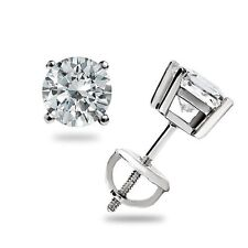 .50 ct Round cut Solitaire Stud Earrings 14k White Gold Screwback Great Gift USA