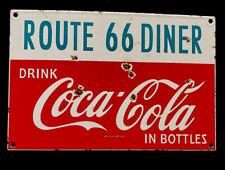 "VINTAGE COKE COCA-COLA ROUTE 66 DINER 12"" PORCELAIN SIGN CAR GAS OIL TRUCK SODA"