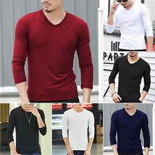 Fashion Mens V Neck Tops Tee Shirt Slim Fit Long Sleeve Cotton Casual T-Shirt