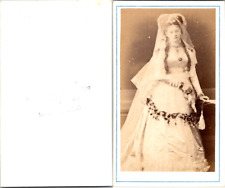 Montevideo, Portrait de femme, jeune mariée avec son voile Vintage CDV albumen c