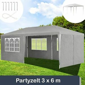 Partyzelt Pavillion Gartenzelt Festzelt Gartenpavillion Gazebo Grau 3x6 Juskys®