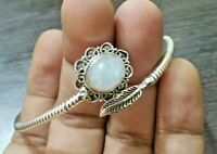 Rainbow Moonstone Bangle..925 Silver..Party Wear Bangle..Flower & Leaf Bangle