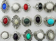 Wholesale 10ps Lots Mix Color Stone Tibet Silver Plated Vintage Ring Jewelry Hot