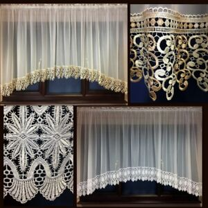 Beautiful Cream Voile Net Curtain with Long Lace (Guipure )