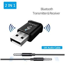 2 in 1 USB Bluetooth 5.0 Transmitter Receiver 3.5mm AUX Stereo Audio Adapter Car