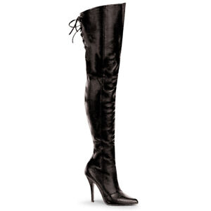 """PLEASER Legend-8899 Size 6 Black Leather 5"""" Heel Thigh-High Boots"""