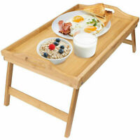 2x Bamboo Folding Lap Serving Tray Desk Bed Tea Food Breakfast Dinner TV Table