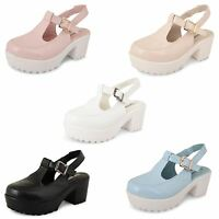 Womens Ladies Block Chunky Heel Strappy Platform Cleated Sole Sandals Shoes Size
