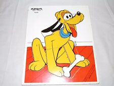 "Vintage Wooden PLAYSKOOL Puzzle - "" PLUTO "" - Walt Disney Productions - MADE USA"