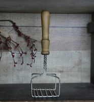 Vintage Twisted Wire Potato Masher - Wooden Handle