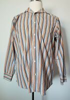 Banana Republic Dress Shirt Mens sz 15 Long Sleeve Button Up Striped Multi-color