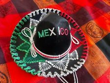 ORIGINAL MEXICAN SOMBRERO DECORATIVE HAT BOUGHT ON HOLIDAYS BLACK RED GREEN
