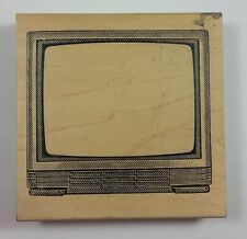 JudiKins RARE Rubber Stamp Large Retro Tv Television Set Boob Tube #2020H Frame