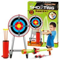 Kids 2 in 1 Large Bow & Arrow Set Archery Toy Bolt Gun Shooting Target Game Boys