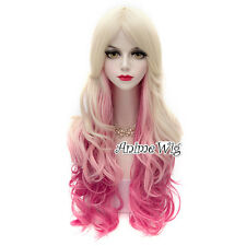 Lolita Blonde Mixed Pink Long 70CM Curly Fashion Women Cosplay Wig + Cap 2018