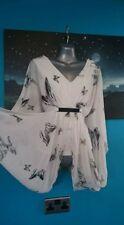 New Look Blusa 8 S Pequeño Top Para Boda Noche Fiesta Vestido Blanco Mariposa