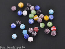 6mm Round Lampwork Millefiori Glass DIY Findings Loose Spacer Beads Mixed Colors