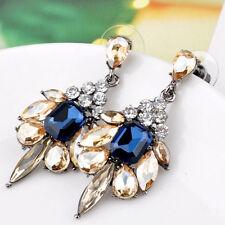 Crystal Drop Gemstone Rhinestone Earrings Blue And Gold Statement Studs