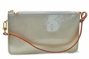 Authentic Louis Vuitton Vernis Lexington Hand Bag Pouch Light Green LV E1026