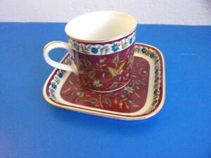 Silk Road Takahashi Tea Cup with Square Saucer / Plate, 1983 Burgundy Red