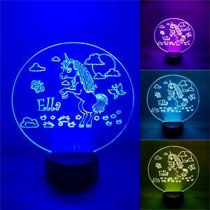 Personalised Unicorn Night Lamp Multi Coloured LED Lights USB Remote Name Sign