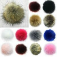11cm Faux Raccoon Fur Pom Pom Ball with Press Button for Knitting DIY Hat BIG