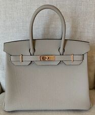 BNIB Authentic HERMES Gris Tourterelle Birkin 30CM Togo Rose Gold Hardware