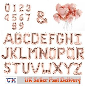 """16"""" Rose Gold Alphabet Letter & Number Foil Balloons Personalised NAME PARTY UK"""