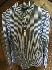 Ralph Lauren men's Linen shirt, blue/white strips, new size M