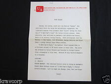 THE BEATLES—RARE 1964 PRESS RELEASE--A HARD DAY'S NIGHT