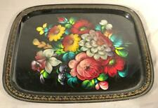 "VINTAGE 14""X 18"" TOLE PAINTED METAL SERVING TRAY TOLEWARE"