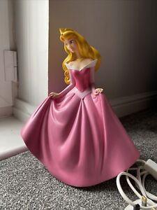 "Vintage Disney Princess Aurora Sleeping Beauty Lamp Figurine 12"" Pink RARE"