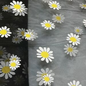 """Daisy Floral Soft Tulle or Soft Organza Fabric  54"""" Wide UK Seller"""