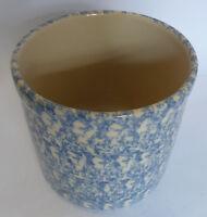 "Gerald E Henn Workshops Crock Blue Sponge Ware Canister Pot  Roseville 6"" H"