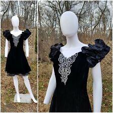 Vintage Betsy & Adam black velvet peticoat cocktail Puff Sleeve Dynasty dressS