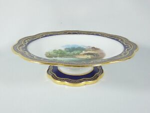 Antique Victorian 1880 Wedgwood Hand Painted Comport Cake Plate Stand Blue Gold