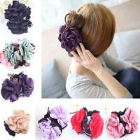 ALS_ Fashion Big Flower Plastic Cloth Hair Claw Women Hair Clip Clamp Accessory
